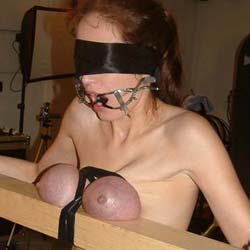 Purple boobs of pain  i just love tortured my slaves great boobs until they turn a pleasant shade of purple. I just love molested my slaves big breasts until they turn a pleasant shade of purple.