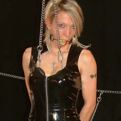 Chaining the tits. When my exciting blonde slave misbehaves I bind her tits in chains and watch her squirm.
