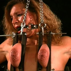 Bound in chains  though i usually bind my slaves boobs in ropes today i opted for a cold chain. Though I usually bind my slaves tits in ropes today I opted for a cold chain.