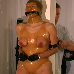 Plastic wrap breast bondage  when a slave has been extra naughty i wrap her in saran wrap and ravage her breasts. When a slave has been extra naughty I wrap her in saran wrap and ravage her tits.