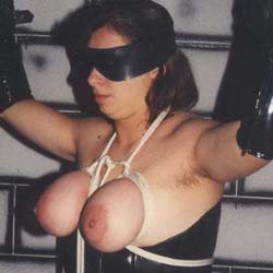 Clothes pin tortured. I just love placing clothes pins on my slaves big bound bosoms and watching her squirm.
